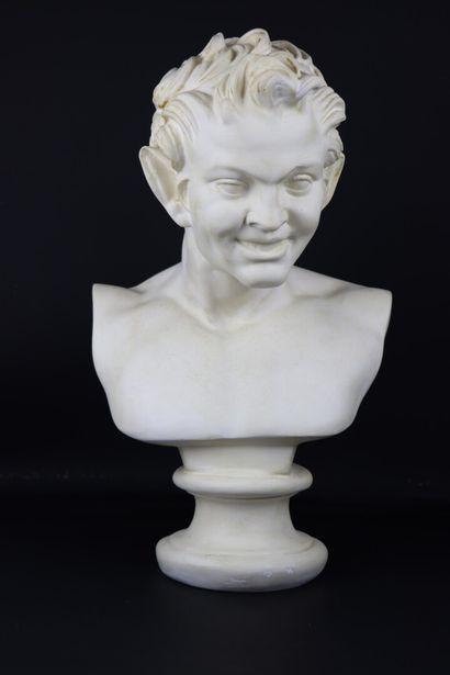 Buste de faune.  Sculpture en plâtre.  H_53...