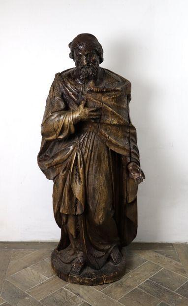 Saint personnage.  Importante statue en chêne...