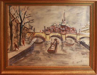 Roland DUBUC (1924-1998).  Paris, bateau...