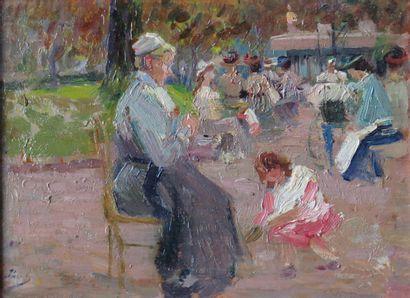 Elie Anatole PAVIL (1873-1944).  Paris, scène...