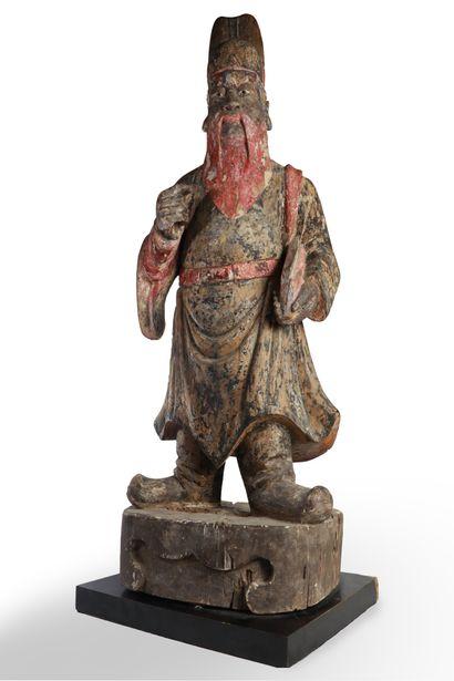 CHINE, XXème siècle.  Grande statue de dignitaire...