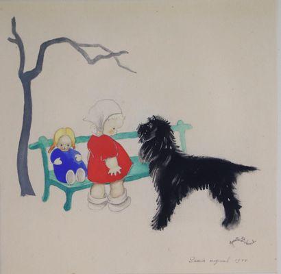 Josette BOLAND (née en 1920).  Chien, enfant...