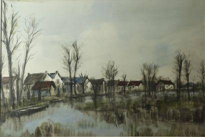 Jean-Pierre REMON (né en 1928).  Le canal....