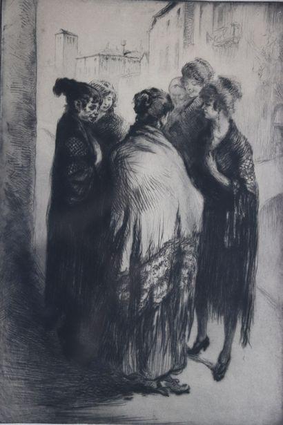 Edgar CHAHINE (1874-1947).  Groupe de Siahl,...