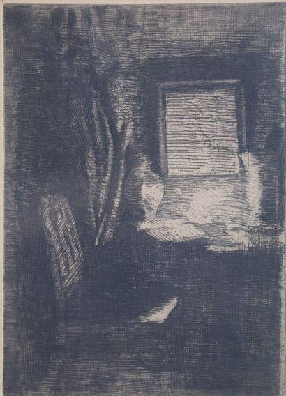 Adrien de WITTE (1850-1935).  Scène d'intérieur....
