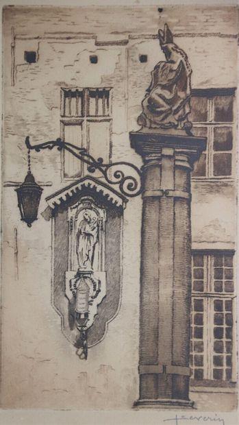 Juliaan SEVERIN (1888-1975).  Vue d'une ville...