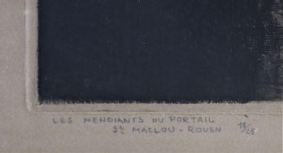 Jean DONNAY (1897-1992).  Les mendiants du portail Saint Maclou à Rouen.  Eau-forte...