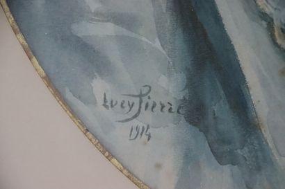Lucy Valentine PIERCE (1887-1974).  Portrait de femme de profil.  Aquarelle sur...