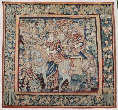 Tapisserie en laine figurant l'entrée d'une...