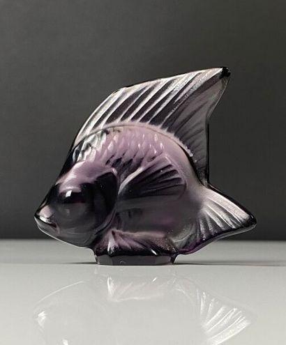 LALIQUE France.  Cachet poisson en verre...