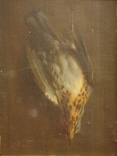 L. PERRINS ?  Nature morte à l'oiseau  Huile...