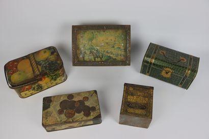 Cinq boîtes à biscuit en tôle lithographiée....