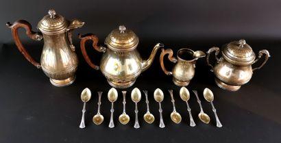 Réunion d'objets en métal argenté comprenant :  - un service à thé-café à prise...