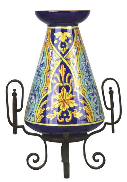NEVERS.  Vase à jacinthe en faïence à décor...