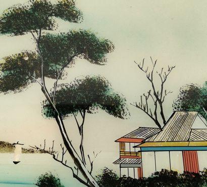 Ecole vietnamienne du XXème siècle.  Paysage animé.  Encre, collage et gouache sous...
