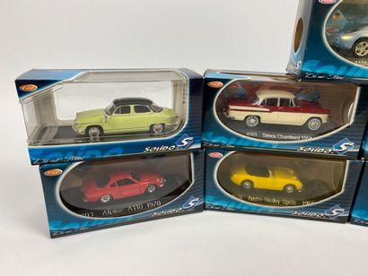 SOLIDO.  Lot de 9 véhicules miniatures 1/43e.  Boîtes d'origine ; dont MK TV SPIDER,...
