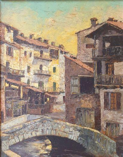 Jean CORNICHE (XXème siècle).  Vue de village,...