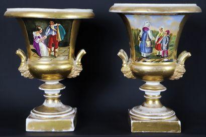 PARIS, XIXème siècle.  Paire de vase Medicis...