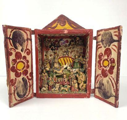 Crèche composée de santons dans un coffret...