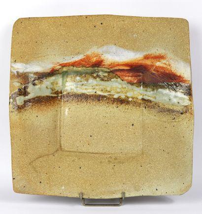 Jean LINARD (1931-2010).  Plat carré en terre...