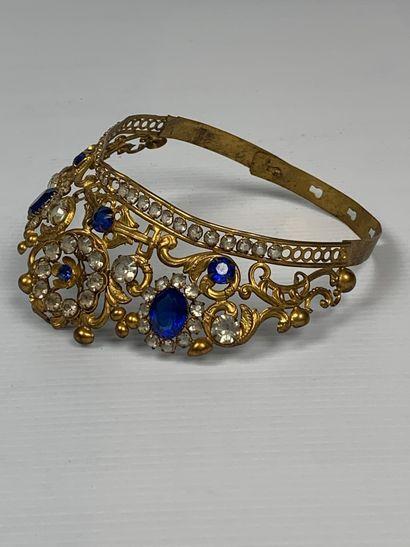 Demie-couronne de statuaire religieuse ornée de perles en verre imitant saphirs...