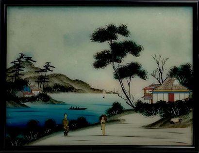 Ecole vietnamienne du XXème siècle.  Paysage...