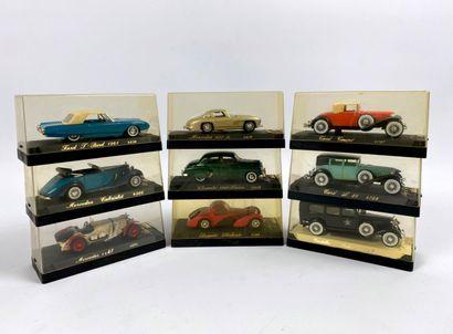 SOLIDO AGE D'OR.  Lot de 9 véhicules miniatures...