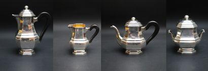 Service à thé et café en métal argenté, les...