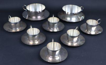 Ensemble en métal argenté comprenant six...