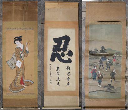 CHINE.  Trois kakemonos figurant une courtisane,...