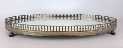 Surtout de table ovale en métal argenté à...