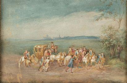 Ecole française du XIXème siècle.  La fuite...