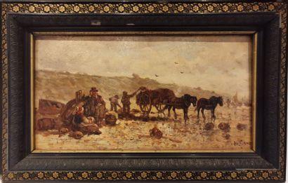 H. GOMEZ - Actif au XIXème siècle.  Le ramassage...