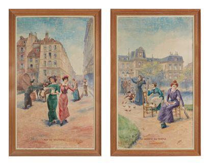 A BASSI, circa 1900.  Paris, la rue de Bretagne...