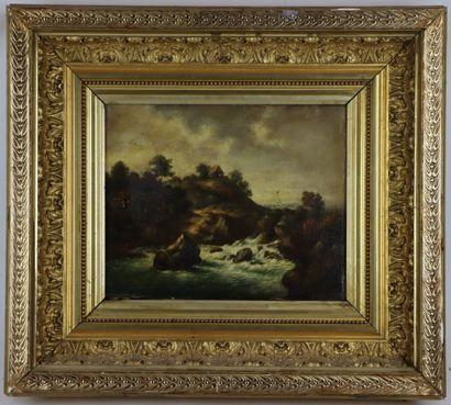 VAN WHYCK, XIXème siècle.  Paysage à la cascade....