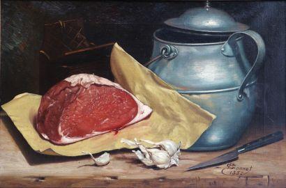 C. BONNET.  Nature morte à la viande et à...