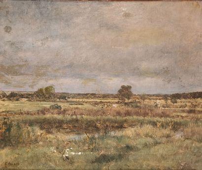 Jean-Charles CAZIN (1841-1901).  Paysage....
