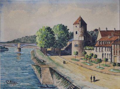 Claude ALLIER.  Nevers, la Loire et la tour...