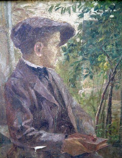 Théodore BARAT (1879-1953).  Homme regardant...