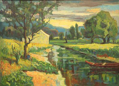 Francis AUDET (1914-1963).  Canal du Nivernais....