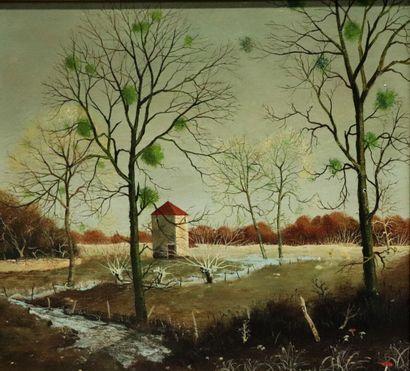 Michel BESZIE (né en 1940).  Le pigeonnier....