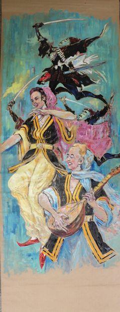 Charles BOSSU (1911-1993).  Turcs.  Peinture...