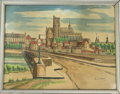 Emile CHAMBON (1902-1959).  Nevers, vue depuis...