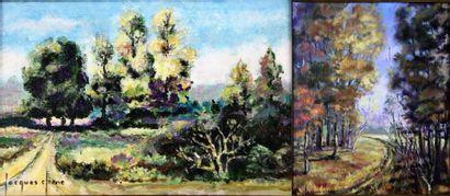 Jacques CHENE (né en 1923).  Paysages arborés....