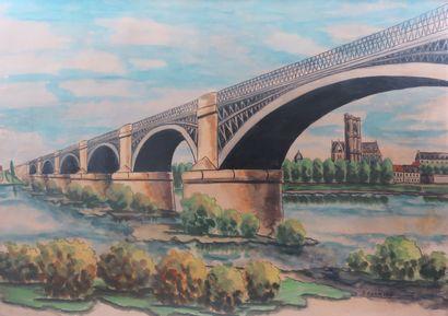 Emile CHAMBON (1902-1959).  Nevers, le pont...