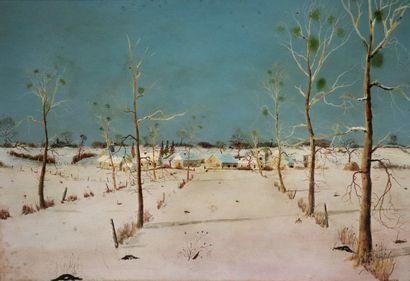 Michel BESZIE (né en 1940).  Paysage d'hiver...
