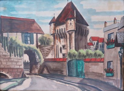 Emile CHAMBON (1902-1959).  Nevers, la Porte...