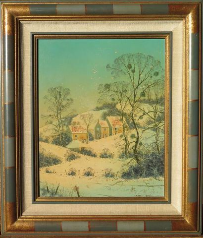 Michel BESZIE (né en 1940).  Neige en nivernais....