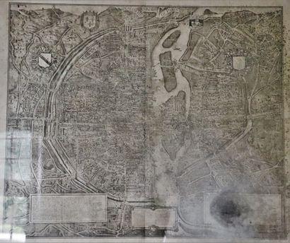 Plan de Paris au XVIème siècle imprimé par...