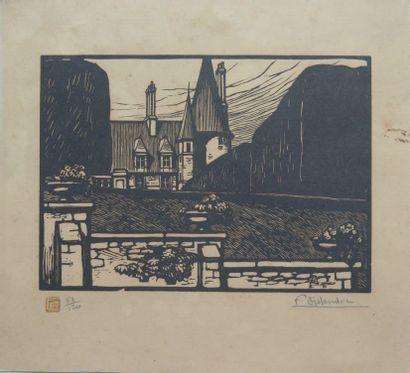 Fernand CHALANDRE (1879-1924).  Square Foch et Palais Ducal, 1920.  Bois gravé....